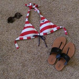 Roxy Red, White, and Blue Striped Bikini Top